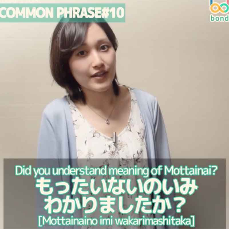 Japanese Common Phrases - Mottainai もったいない